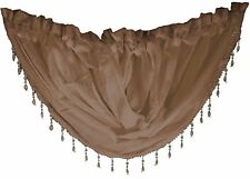 "CHOCOLATE VOILE CRYSTAL BEADED TRIM SWAG ROD POCKET CURTAIN DRAPE 22X18"" 56X45CM"