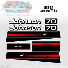 1995-96 Johnson 70 HP Outboard Reproduction 8 Piece Vinyl Decals Two Stroke