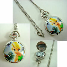 Princess Tinkerbell Girl Women Ladies Child Fashion Pocket Watch Necklace +CHARM