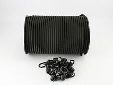 6mm Expanderseil schwarz 20m +10 Spiralhaken Gummiseil Haken Seil Plane
