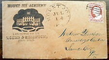 1850'S ILLUSTRATED MOUNT JOY ACADEMY, LANCASTER, PA US COVER SC# 11