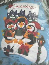 "Bucilla Felt Applique Holiday Stocking Kit,CHRISTMAS CAROLING,Penguins,83282,15"""