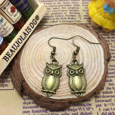 Free shipping Antique brass cute bronze small owl Pendant earrings!