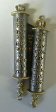 "Mezuzah- Brass TORAH SCROLL (5"")BEAUTIFUL! w/Hebrew Torah scroll portion"