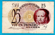 RARE Netherlands P77 25 Gulden THE GIRL by Johanes Vespronk 7.5.1945 aVF+