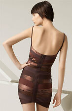NEW HERVE LEGER COPPER METALLIC BANDAGE SEQUIN DRESS M