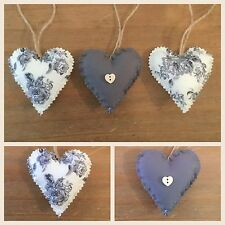 Set Of 3 Handmade Shabby Chic Hanging Love Heart / Padded Heart