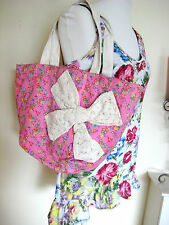 Ladies Teenage Girl Pink Flower Floral Bow Handbag Fabric Bag Tote Beach Summer