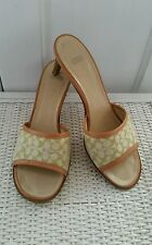 Coach Apple Green-Tan Open Toe Mules, Made in ITALY, Great Condition! 7