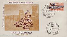 #SPORT-GIOCHI DELLA XVII OLIMPIADE- LOTTA- Terme di Caracalla 1960 (busta)