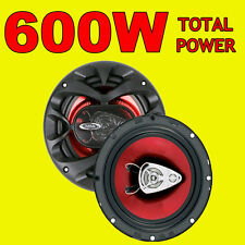 BOSS 600W TOTAL 3WAY 6.5 INCH 16.5cm CAR DOOR/SHELF COAXIAL SPEAKERS RED PAIR