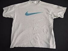 VINTAGE 90s NIKE neon SWOOSH mens t shirt XL made in USA gray