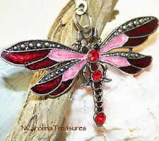 CEILING FAN CHAIN LIGHT SWITCH PULL DRAGONFLY ANTIQUE SILVER RED LARGE PAIR