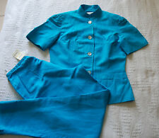 BN WALLIS LADIES LINEN BLUE ELEGANCE SUIT SHORT SLEEVE JACKET TROUSERS size 10