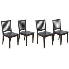 Contemporary Slat Black Rubberwood Dining Room Furniture Chairs (Set of 4)
