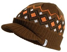 Mens  Winter Peaked Beanie Hat Urban Beach Traverse Brown.Brand New.