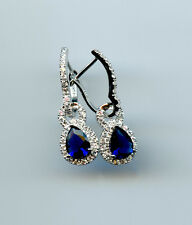 CONVERTIBLE 925 SILVER PEAR CREATED SAPPHIRE & CLEAR CZ HALO LEVERBACK EARRINGS