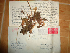 WW2 stamp GERMAN DOCUMENT card Feldpost 1940 postakarte herbarium flowers