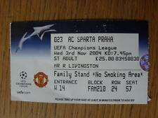 03/11/2004 Ticket: Manchester United v Sparta Praha [European Cup]