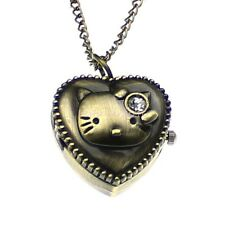Vintage Quartz Bronze Kitty Pocket Watch Locket Heart Pendant Long Necklace