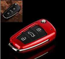 Audi Q7 A3 A4 A6 TT 3 Button Fob Shell Remote Flip Key Case Cover Holder Bag Red