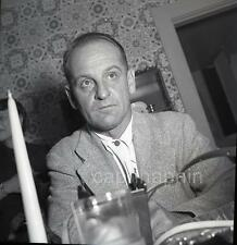 Extreme Close Up Poker Face Man & Candle at Table Vintage 1950s Negative Photo