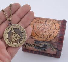 Gravity Falls Bill Cipher Necklace With Vintage Display Box Brozen Pendant Otaku