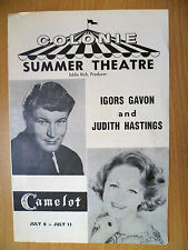 Colonie Summer Theatre Programme: CAMELOT by Igors gavon & Judith Hastings