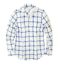 J Crew Factory - Women's XXL - Blue Window Pane Plaid Perfect Fit Flannel Shirt