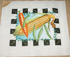 Corn, Carrot & Peas - Vegetables w/ Fork Border Handpainted Needlepoint Canvas