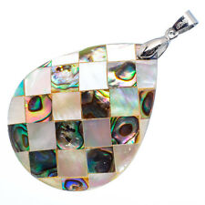 "Mother of Pearl Natural Abalone Sea Shell Teardrop Pendant 1 3/4"" Jewelry #02-Z"