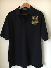 "Ralph Lauren Polo T-shirt Size XL 48"" Navy Embroidered Back And Front  T8394"