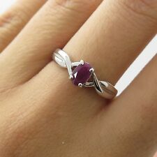 925 Sterling Silver Natural Ruby Gemstone Ring Size 7