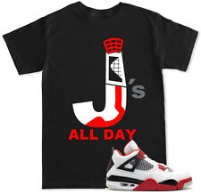 T Shirt or Tank top to match with Jordan RETRO 4 Fire Red Toro Alternate Shoes