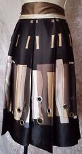 DELISH DEMURE Womens Skirt 100% Silk Black Tan & Cream Accent Grommets Sz.10 NWT
