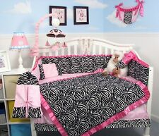 PINK BLACK & WHITE ZEBRA CRIB BEDDING SET 10 Piece Infant Baby Girl Nursery NEW