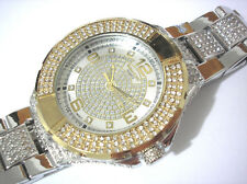 Iced Out Bling Bling Big Case Hip Hop Techno King Men's Watch Silver Gold #3400