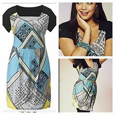 Simply Be Size 12 14 Black Multi Geometric Print Tunic DRESS Casual Party New