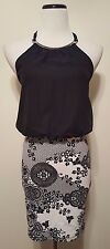 NWT! UK2LA Black White Mini Halter Dress Bloused Top Silver Halter Collar Sz M