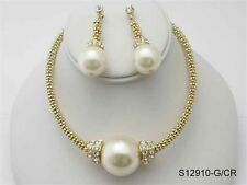 Gold Toned Necklace With Cream Pearl and Clear Rhinestones W Matching Earring