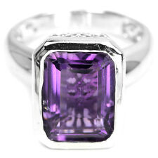 Sterling Silver 925 Genuine Natural Emerald Cut Amethyst Ring Size S (US 9.25)