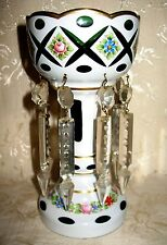 "Outstanding Victorian Bohemian Glass Luster, 9"" inches tall x 4 3/8"" Diameter"