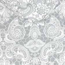 ISAAC MIZRAHI Vintage Lace KING QUILT SET 3pc GREY WHITE Paisley Floral COTTON