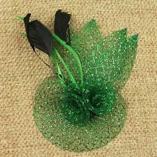 Fancy Feathers Double Mini Flowers Net Hair Clip Fascinator Cocktail Party Decor
