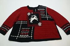 CJ Banks Womens Size 3X Reindeer Ugly Christmas Sweater Great Condition