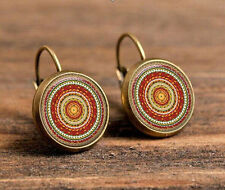 unique spiral Bronze Glass cabochon 18mm handmade Earrings Jewelry GB-52