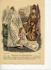 Gravure MODE XIX° 1887 Journal des Demoiselles Mariée et Fillette en Robe Rose
