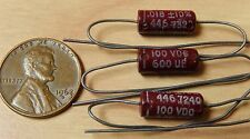 3 Good-All 600UE .018uf 100V Molded Tubular Mylar Capacitors NOS Guitar Tone