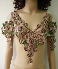 VK376 Brown Green Lace Floral Collar Epaulette Venise Venice Applique Motif Set