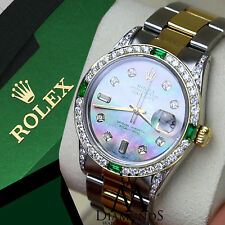Diamond Rolex DateJust 36mm Stainless Steel Oyster 2 tone Black Mother Of Pearl